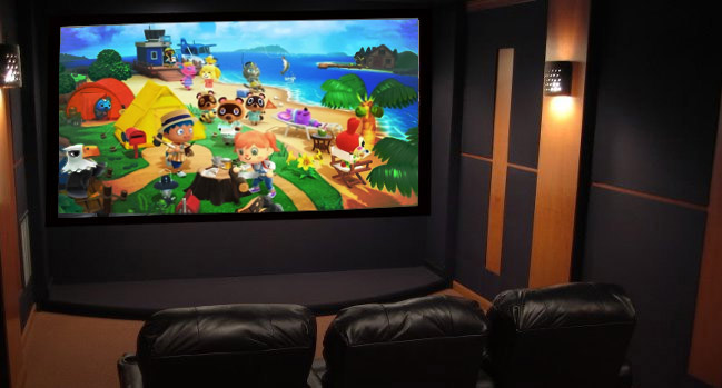 video game on a home theater projector